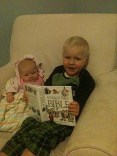Noah reading the Bible to Eva